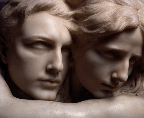 ca. 1980-1997 --- Detail of Faces from The Abyss by Pietro Canonica --- Image by ?Massimo Listri/Corbis